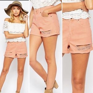 Forever 21 Rust Pink Distressed Denim Shorts 30